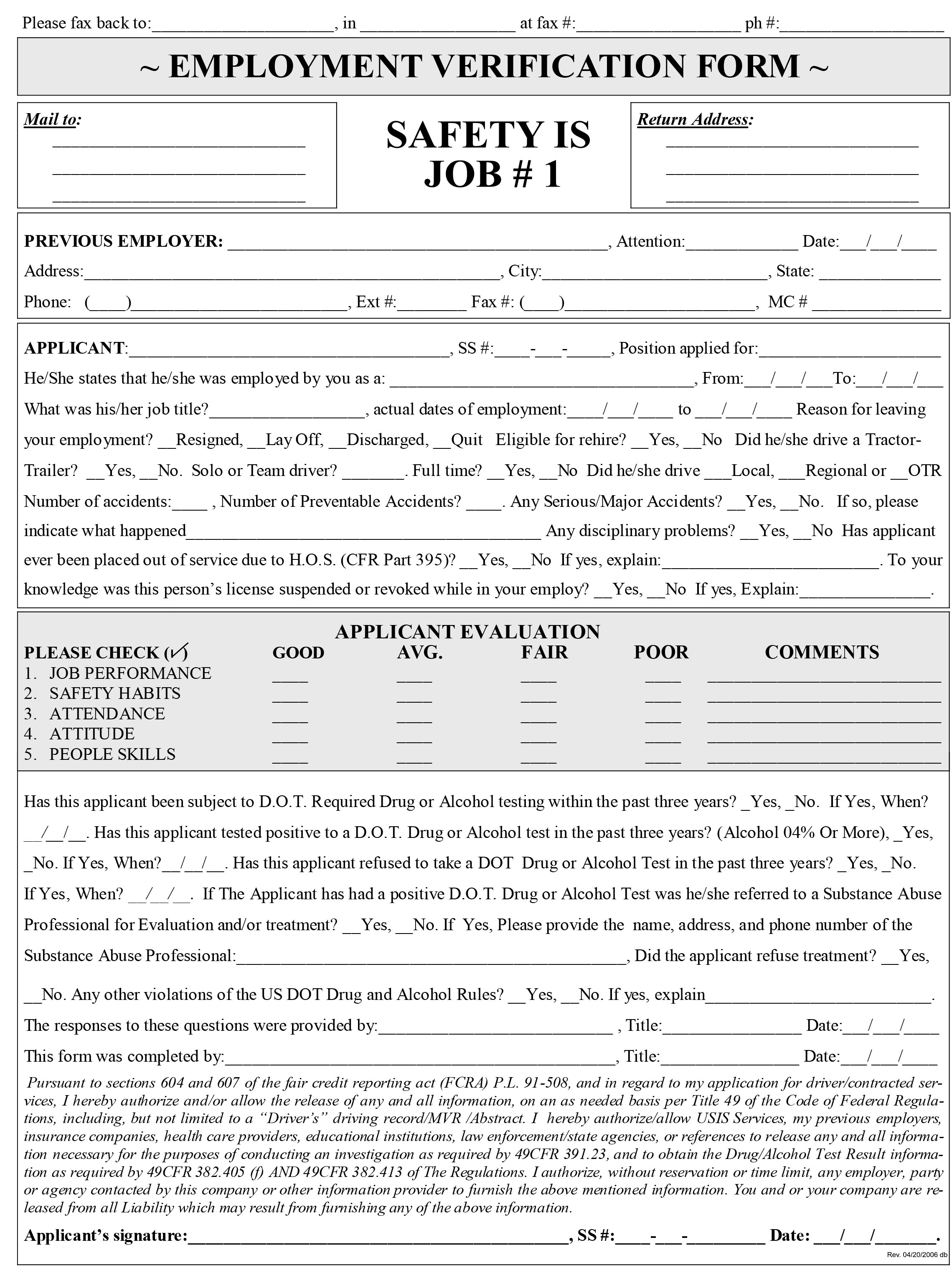 DriversApplicationPrintable7 – Prior Employment Verification Form